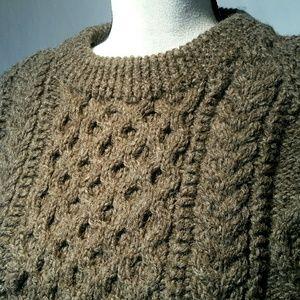 Hand knit wool Fisherman sweater L-XL
